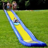 The Turbo Chute Water Slide Backyard Package from RAVE Sports features two sections of commercial strength sliding with 46 inches wide x 9 inches high PVC Coated Nylon inflatable wall barriers