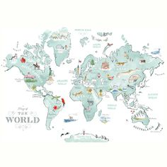 Alice Tait 'Illustrated World Map' Print - Alice Tait Shop Travel Presents, Best Travel Gifts, Map Wall Art, Map Art, Les Continents, Map Design, Travel Maps, Cartography, Large Prints