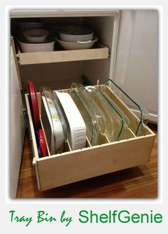 Casserole lovers, brownie bakers, lasagna makers...this tray bin idea is for you! #KitchenOrganization #PullOutShelves #TrayBin: