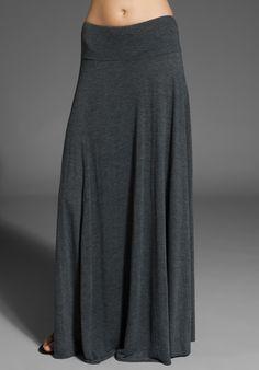 long grey skirt.