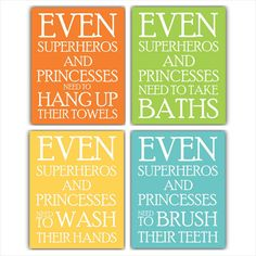 Even Superheros and Princesses Bath print SET  Custom bathroom decor Choose any 3 prints Children bathroom wall art set brush bathe wash on Etsy, $25.99