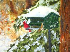 "Cardinal feeding on a Winter Day Decorative Ceramic Tile... ""Today December"". $38.00, via Etsy."