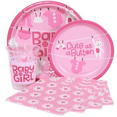 Cute As A Button Baby Girl Baby Shower Party Supplies Tableware