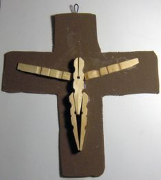 Jesus on the cross with clothespins and brown craft foam.