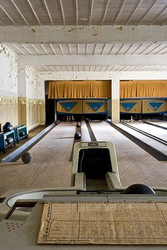Abandoned bowling alley at an abandoned State Hospital (Brookside?) ---- (by AeroFennec, via Flickr)