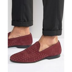 House Of Hounds King Studded Loafer ($60) ❤ liked on Polyvore featuring men's fashion, men's shoes, men's loafers, red, mens red slip on shoes, mens leather loafer shoes, mens red leather shoes, mens woven leather slip-on shoes and mens loafer shoes