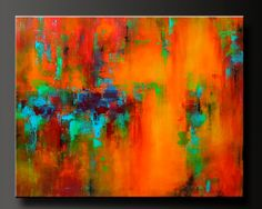 'Mardi Gras'. Abstract acrylic painting on canvas, vivid and festive shades of turquoise, aqua, red, orange, and yellow.
