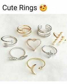 Anillos Hand Jewelry, Jewelry Rings, Jewelry Accessories, Jewelry Design, Jewlery, Cute Rings, Pretty Rings, Stylish Jewelry, Cute Jewelry