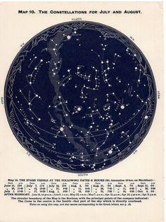 1955 Juni Juli august der nördlichen Hemisphäre Konstellationen Sternenkarte Vintage himmlischen Originalgraphik
