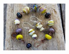 French Marble Earring & Bracelet Set by TheCopperstoneForge 28€ #jewellery #lampwork #wirework #handmade