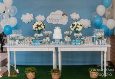 Baby Boy Christening Decorations, Baptism Party Decorations, Baby Shower Decorations, Table Decorations, Art Festa, Boy Birthday, Birthday Parties, First Communion, Baby Boy Shower