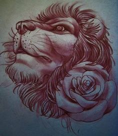 lion tattoo flash Done by Joe Nillo.