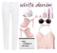 """Pink and White"" by youaresofashion ❤ liked on Polyvore featuring 3x1, Hollister Co., Essie and whitejeans"