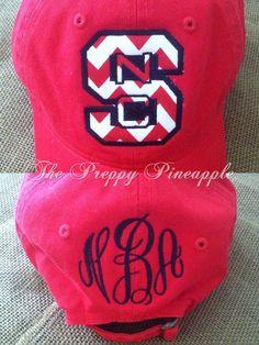 NC State Appliqué Monogram Hat by ThePreppyPineappleSC on Etsy, $21.00