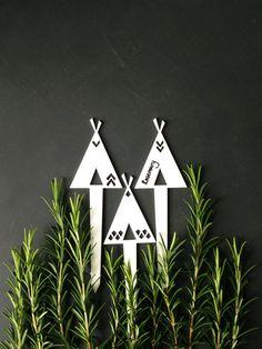 Tipi Tipi plante marqueurs jardin herb marqueur par PrinceDesignUK