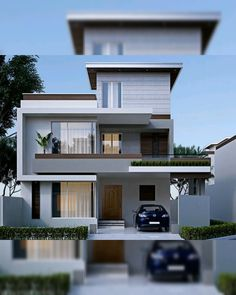 Discover recipes, home ideas, style inspiration and other ideas to try. Modern Small House Design, Modern Exterior House Designs, Small House Exteriors, Latest House Designs, Modern Home Exteriors, Narrow House Designs, Modern Houses, 2 Storey House Design, Duplex House Design