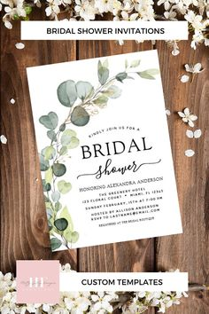"""Bridal Shower Greenery Eucalyptus Succulent Invitation Eucalyptus Greenery Succulent Botanical Watercolor Spring Wedding Bridal Shower Invitations on white background - includes beautiful and elegant script typography with modern botanical leaves and greenery for the special Bride to Be celebration. Size: 5"""" x 7"""" Invitation / Flat Card Make custom invitations and announcements for every special occasion! #weddinginvites #invitations #bridalshower #greenery #eucalyptus #watercolor Bridal Shower Invitations, Custom Invitations, Wedding Stationery, Party Invitations, Modern Wedding Theme, Floral Wedding, Wedding Theme Inspiration, Wedding Ideas, Wedding Cards"""