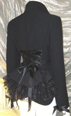 Black Victorian Bustle Jacket Coat Goth Lolita Vampire Steampunk Cosplay 16/18 UK plus size. £42.00, via Etsy.