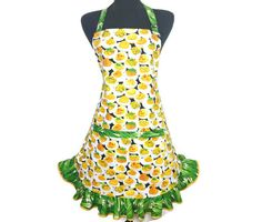 Deviled Eggs and Green Onions  Ruffled Kitchen Apron by ElsiesFlat
