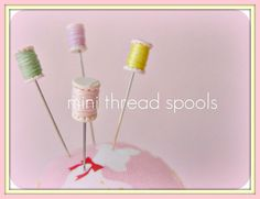 Assorted Candy Colored MIni Thread Spool Pin by PinksAndNeedles