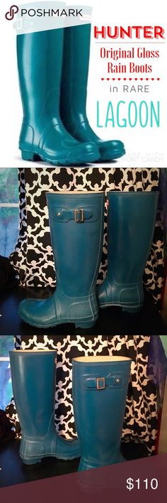 RARE HUNTER BOOTS - LAGOON RARE HUNTER BOOTS COLOR LAGOON. No longer available online so get it while you can! Hunter boot size 6m/7f (equivalent to regular women's 7/7.5) See photos for Hunter website description. Worn less than 10 times--years of wear left in them! Light signs of wear around toe area but absolutely no damage to the wear/ functionality. Adorable for a rainy spring or summer day! Hunter Boots Shoes Winter & Rain Boots