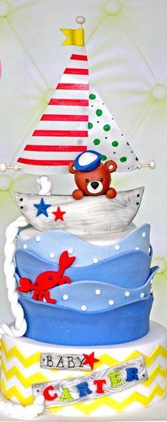 Sailboat, Nautical Baby Cake