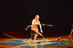 Cirque du Soleil's AMALUNA under the yellow and blue Big Top at Toronto's Port Lands. Photo credit: Laurence Labat. Costume credit: Mérédith Caron.