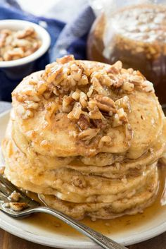 Butter Pecan Pancakes - this easy recipe is the BEST PANCAKE RECIPE EVER. The flavor tastes just like butter pecan ice cream with butter pecan syrup!
