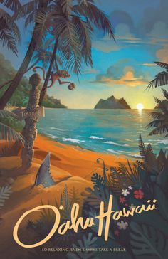 Retro Hawaii North Shore Travel Poster Put on some sunscreen, grab a towel, and head down to the North Shore beach in Oahu, Hawaii! Watch out for some thirsty sharks,…