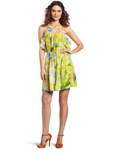 Plenty by Tracy Reese Women's Watercolor Floral Flounced Slip Dress