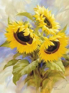 NYMB's Fresh Home Decor Watercolor Sunflower Shower Curtain Sunflower Pictures, Sunflower Art, Watercolor Sunflower, Watercolor Art, Art Floral, Art Et Nature, Plant Drawing, Modern Art, Art Prints