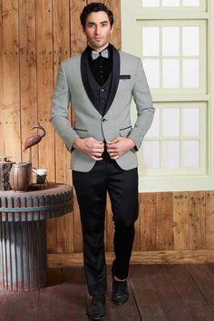 Grey Woven Italian Tuxedo Suit-ST873