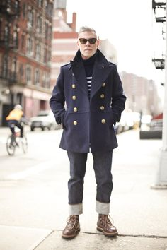Nick Wooster wearing Navy Pea Coat, Navy and White Horizontal Striped Turtleneck, Charcoal Jeans, Dark Brown Leather Casual Boots Nick Wooster, Looks Style, Looks Cool, Men's Style, Style Icons, Caban Bleu Marine, Navy Pea Coat, Pea Coat Men, Style Masculin