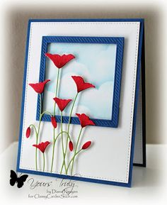 Poppy Window by ClassyCards - Cards and Paper Crafts at Splitcoaststampers by bethany Handmade Birthday Cards, Greeting Cards Handmade, Memory Box Cards, Memory Box Dies, Poppy Cards, Sympathy Cards, Flower Cards, Creative Cards, Cute Cards