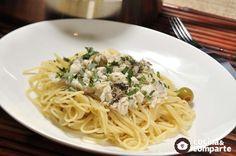 Espagueti con pescado blanco y aceitunas hecha por Sonia Ortiz. Una sencilla receta de pasta con pescado