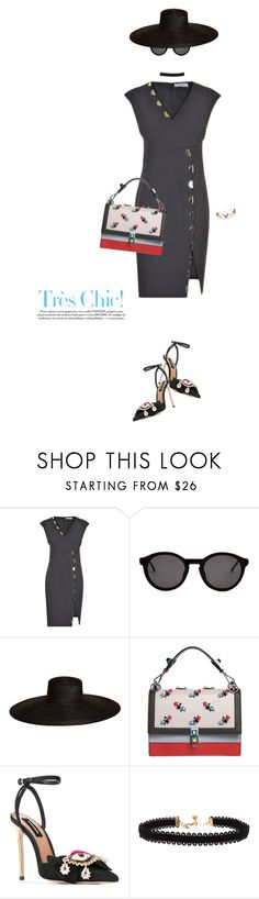 """""""Tres chic"""" by frenchfriesblackmg ❤ liked on Polyvore featuring Versace, Thierry Lasry, Samuji, Fendi, Dsquared2 and Vanessa Mooney"""