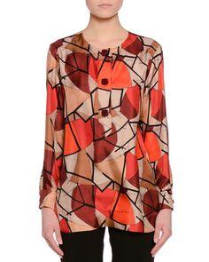 Delaunay-Print Long-Sleeve Blouse, Red/Burgundy