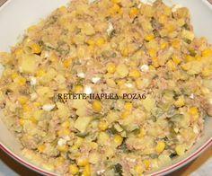 salata de ton cu cartofi, porumb si maioneza 6 Beans, Vegetables, Drinks, Desserts, Recipes, Food, Drinking, Tailgate Desserts, Beverages