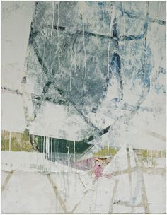 "Ian MacLeod ::  'Composition #382' -  40"" x 30"" -  Acrylic, latex, deck stain, paper, raw canvas, varathene and polymer emulsion on canvas."