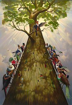 "Vladimir Kush""Tree Of Life""Hd Print Art Home Deco Painting On Canvas & Garden Vladimir Kush, Wassily Kandinsky, Dali, Monet, Cool Optical Illusions, Online Painting, Whimsical Art, Surreal Art, Tree Art"