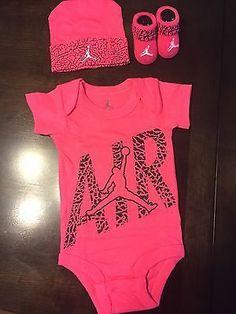 NWT NIKE Air Jordan Jumpman Baby Girl 0-6M 3 Piece Set Bodysuits,Booties,Hat