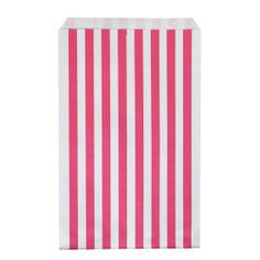 Set of 10 paper bags, Hot Pink and White candy stripe.
