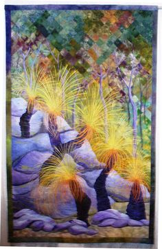 """Grass Trees, 50 x by Gloria Loughman , Victoria, Australia. The """"grass"""" on the trees is done with thread painting. Tree Quilt, Quilt Art, Art Quilting, International Quilt Festival, Colorful Quilts, Landscape Quilts, Thread Painting, Contemporary Quilts, Hand Art"""