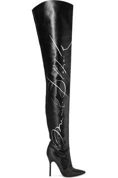 Vetements - Manolo Blahnik Printed Satin Thigh Boots - Black - IT38.5
