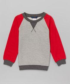 Look at this #zulilyfind! Pebble & Red Raglan Sweatshirt - Toddler & Boys #zulilyfinds