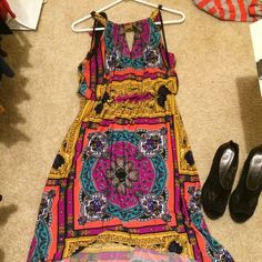 Gorgeous boutique colorful dress! Worn once! A dress from a boutique that is high-low! Dresses High Low
