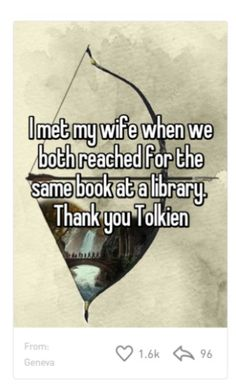 Bookish secrets from Whisper - this anonymous Whisper-er met his wife at the library when they both reached for the same book.