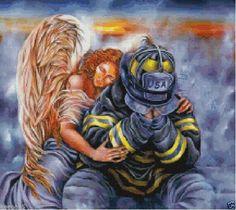 Angel Guarding Firefighter Cross Stitch Pattern ON CD Firefighter Cross, Firefighter Paramedic, Firefighter Pictures, Wildland Firefighter, Firefighter Quotes, Volunteer Firefighter, Firefighters, Firemen, Firefighter Tattoos
