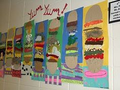 texture!!  I got this lesson from http://kidsartists.blogspot.com and just had to make them with my 5th graders! The main focuss was on texture. I put out boxes of stuff and the kids had a great time stacking their sandwich items. First, we made the table cloth and plate. Next, we added the bun which is made from torn up cardboard, so that the ridges show. Then they had to fill the space between the buns! The kids had to be reminded that the items had to look like a food item. They couldn't…