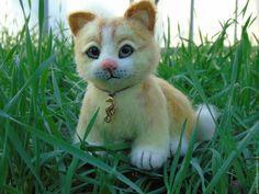 Купить Валяная кошка Лисюша. Игрушка из шерсти. - рыжий, белый, валяная кошка, игрушка из шерсти